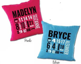 Birth Announcement Pillow Cover