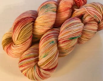 Bouquet, Indie Dyed Yarn, Hand Dyed Yarn, Worsted Weight, Peach, Golden Yellow