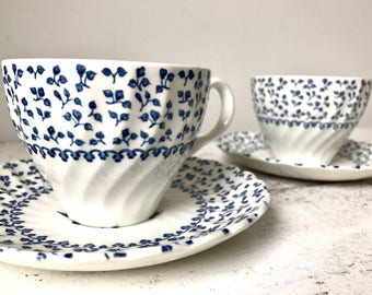 Blue and white cups and saucers / vintage English faience / tea for two / tea and coffee / floral motifs / tea time