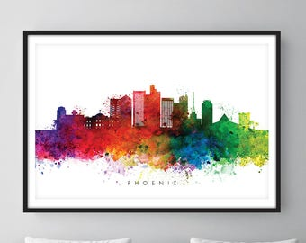 Phoenix Skyline, Phoenix Arizona Cityscape Art Print, Wall Art, Watercolor, Watercolour Art Decor
