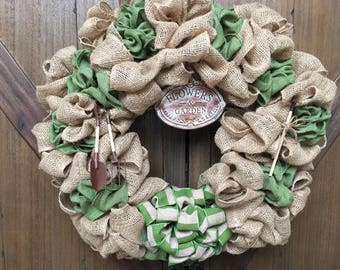 Summer Wreath, Garden Wreath, Green Wreath, Spring Wreath, Wreaths, Burlap Wreath, Moss Green Wreath, Wreath, Flower Wreath