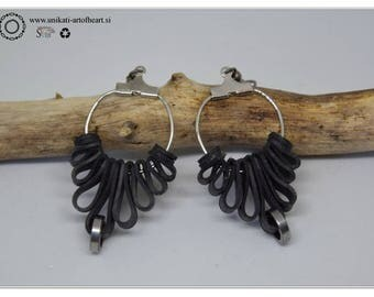Bicycle Earrings, Bicycle Inner Tube Earrings, Recycled Jewelry, Eco Friendly Upcycled Earrings, Gift for Cyclists, Valentines Day Gift