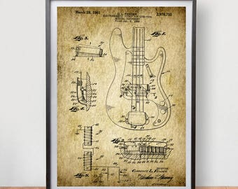 Fender Precision Bass Guitar Patent Poster Game Room Vintage Art Retro Print Home Wall Decor