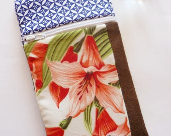 Case, phone case, padded blue and orange lily flower