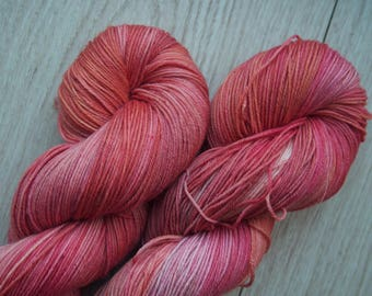 Salmon Rose Superwash Merino - hand dyed yarn