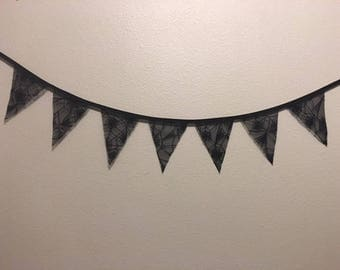Halloween black lace pennant banner