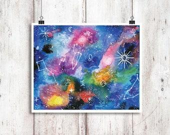 Galaxy Watercolor Print | Space Art | Galaxy Painting | Stars Watercolor Print | Illustration Watercolour Print | Space Art Painting