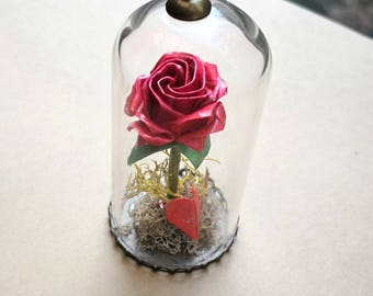 Origami Rose Necklace, Origami Jewelry, Terrarium Necklace, Origami Flower Necklace, Paper Anniversary,Washi Paper,Christmas Gift