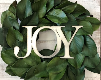 Magnolia Wreath with Metal JOY