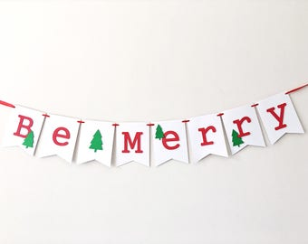 Be Merry Christmas Banner Garland Merry Christmas Sign Decorations Red White Happy Holidays Party Banner Winter Decorations Be Merry Bunting