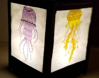 Jellyfish Paper Lantern made from adult coloring book pages
