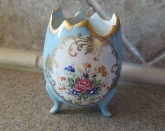 Limoges France Porcelain Footed Floral Egg