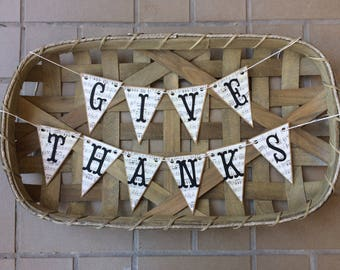 Give Thanks Paper Banner for Thanksgiving Decor holiday banner photo banner twine banner music note banner