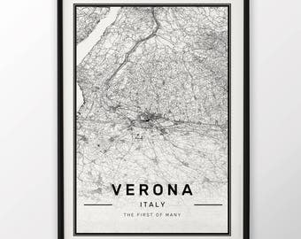 Verona City Map Print Modern Contemporary poster in sizes 50x70 fit for Ikea frame 19.5 x 27.5 All city available London, New York Paris