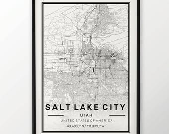 Salt Lake City Map Print Modern Contemporary poster in sizes 50x70 fit for Ikea frame 19.5 x 27.5 All city available London New York Paris