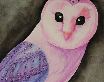 Original Watercolor Barn Owl Painting