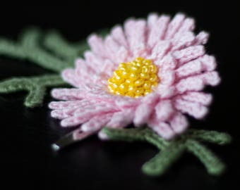 Pink flower Chrysanthemum hair clip-unique girls hair decorasions-sale-Hair accessories-Handmade-crochet flower-gift ideas-Gifts for her.