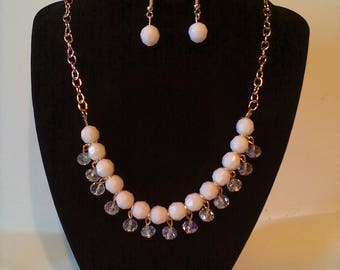 White & Gold2 Pc. Costume Jewelry Set