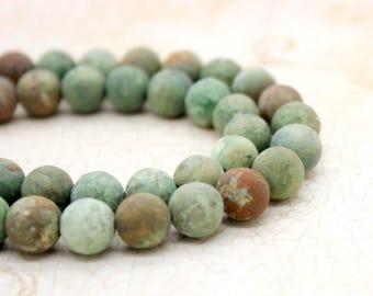 Matte Green African Opal Round Gemstone Beads (8mm 10mm 12mm)