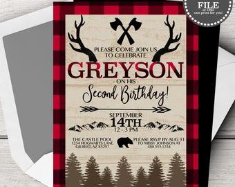 Birthday Invitation Boy, Lumberjack Birthday Invitation, First Birthday Invitation,  Red Plaid Birthday Invitation, DIY Invitation Boy