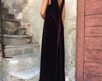 Burgundy Velvet long Dress
