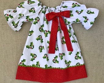 The Very Hungry Caterpillar Christmas Dress, Christmas Holly Dress, Handmade Christmas Dress, Girls Christmas Dress