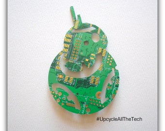 Star Wars BB-8 Silhouette Cut Out of Recycled Circuit Board - Choose Option: Magnet, Pin or Hanging Ornament
