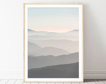 Printable Mountains Abstract Landscape, Geometric Posters, Landscape Art Poster, Mountain Print Art, Minimalist Large Art, Poster Nature