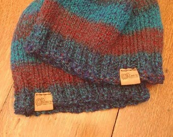 Blue and purple striped toques
