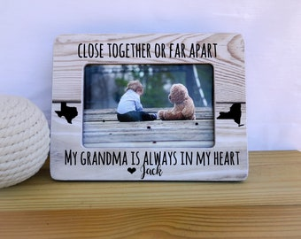 Long Distance Gift for Nana Grandma Grandchild Frame Grandma Frame Close Together or far apart Quote Long Distance States Frame for Nana