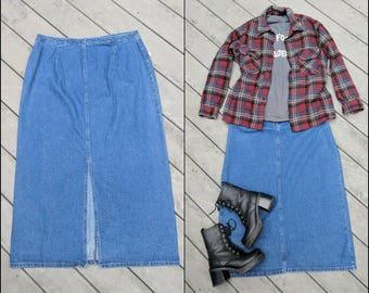 90's Vintage Dark Wash Denim Maxi Skirt, XL