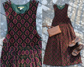 Vintage Velvet Bib Dress || Full Length Jumper w/ Pockets