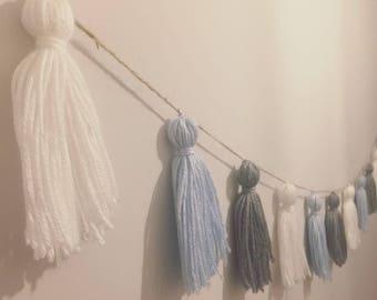 Blue, grey & white yarn tassel garland