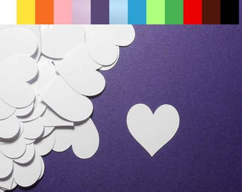 "100 Heart Die Cuts - 1"" x 1"" - Color choice - Cardstock Paper Hearts - Embellishments - Scrapbooking - Card Making"
