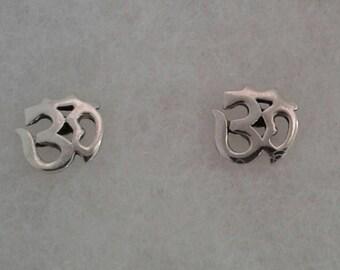 Om Earrings, Ohm, Solid Sterling Silver Ancient Om Stud Earrings, Yoga Jewelry