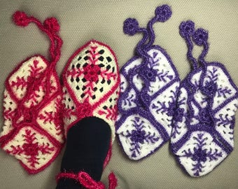 Women booties, Sugar pink and purple booties, booties, womens slippers, Hand knit Turkish Slippers, Gift ideas For women, women socks