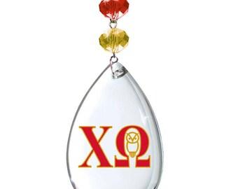 XO Logo Crystal - Badge - CHI OMEGA - Magnetic Ornament Xo Decor/Xo Ornament/Chi Omega Dorm Room Decor