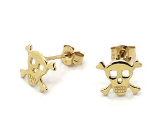 14K Yellow Gold Stamped Skull Stud Earrings