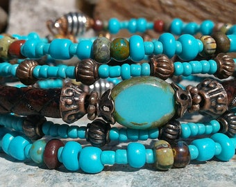 Leather, Turquoise, Copper & Aged Picasso, Memory Wire Bracelet, Women's Memory Bracelet, Boho Wrap, Rustic, Turquoise Waterfalls.