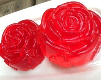Rose Soap / Floral Gift/ Gift for Her/ Rose Essential Oil Soap/ Flower Soap/ Red Rose/ Rose Soaps
