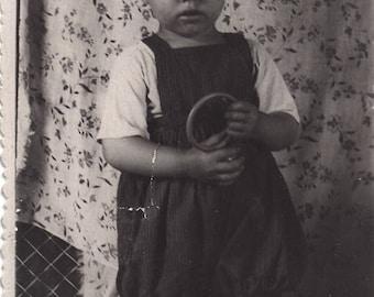 Old photo Russian a cute boy Snapshot rattle Cute toddler Soviet photograph