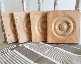 Vintage Wooden Bullseye Molding Pieces