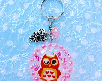 Keychain owl, Resinanhänger