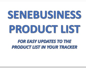 SeneBusiness Product List - For Use With SeneBusiness Tracker