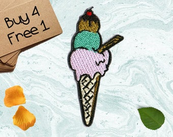 Ice Cream Patch Sweets Patch Iron On Embroidered Patches