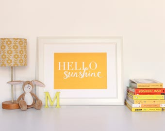 Nursery Print Yellow Hello Sunshine Wall Art A5 A4