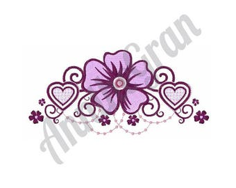 Hearts And Flowers - Machine Embroidery Design