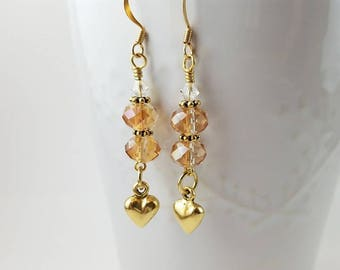 Gold heart and crystal Valentine earrings