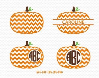pumpkin chevron monogram frames svg, fall svg, fall pumpkin svg, fall monogram frames svg ,CriCut Files svg jpg png dxf Silhouette cameo
