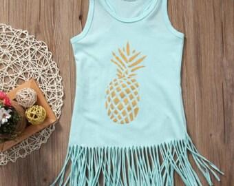 Pineapple Fringe Dress for 12 months, 2t, 3t, 4t, 5t